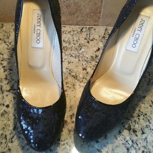 Jimmy Choo Black Sequence Shoes